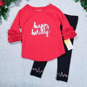 2/$24 Cat & Jack red/black light holiday outfit